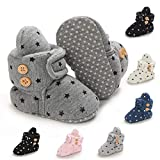 BENHERO Newborn Baby Boys Girls Cozy Fleece Stay on Booties with Grippers Infant Slippers Winter Socks Non Skid Crib Shoes (0-6 Months Infant, X/Dark Grey)