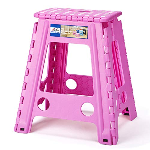 Acko Folding Step Stool  18 inch Height Premium Heavy Duty Foldable Stool for Adults Kitchen Garden Bathroom Stepping Stool Pink