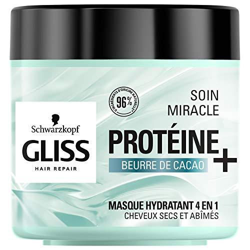 Schwarzkopf - Gliss - Masque Soin Miracle Hydratant 4 en 1 - Cheveux secs, abîmés - 96% d'ingrédients d'origine naturelle - Pot de 400ml