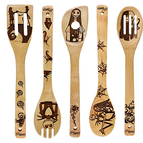 Nightmare Wooden Spoons Great Utensil Set Fun Gift Idea Serving Utensils Burned Bamboo Spoons Kitchen House Warming Present Slotted Spoon 5 Piece