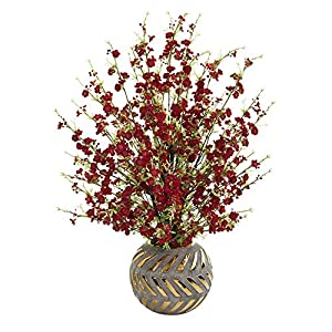 Nearly Natural 30in. Cherry Blossom Artificial Stoneware Vase with Gold Trimming Silk Arrangements, Red