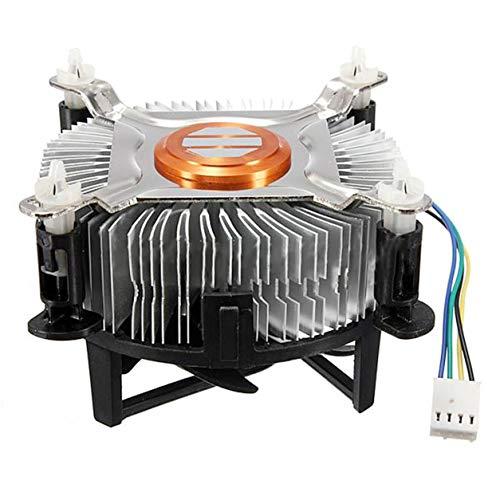 YXDS Ventilador Material de Aluminio CPU Ventilador de refrigeración para Ordenador PC Ventilador de refrigeración silencioso silencioso para 775/1155/1156