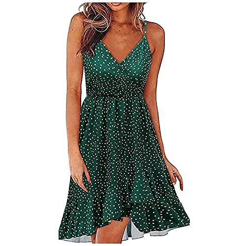 CYGGA Sommarklänning boho blommönster fritidsklänning damklänning ärmlös strandklänning V-ringad sommar bärklänning korta klänningar mode blommig klänning sexig miniklänning knälång klänning västklänning aftonklänningar
