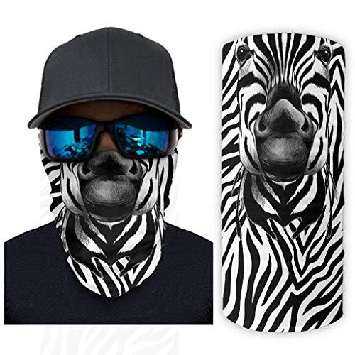 Multifunktionstuch Nahtlose Bandanas Gesichtsschal, Zebra Schnelltrocknend Headwear Multifunktionale Magie Nackenwärmer Schal für Staub, Angeln, Motorradfahren, Laufen, Camping white onesize
