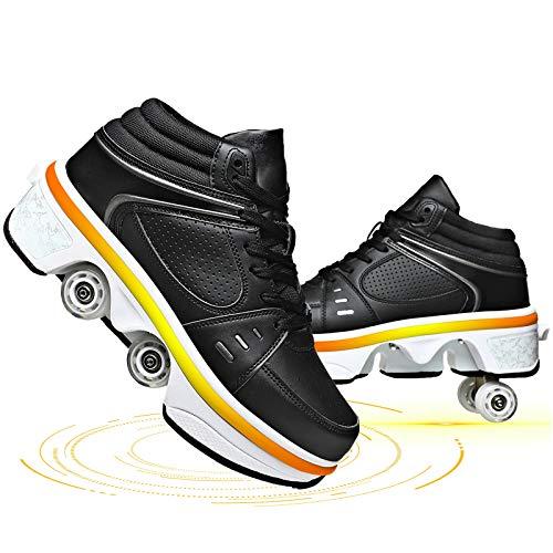SHHAN Deformación Patines De Cuatro Ruedas con Luces LED Carga USB Zapatos Doble Fila Patines En Línea para Deportes Exteriores Niños Adultos