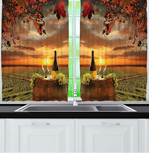 """Ambesonne Wine Kitchen Curtains, Tuscany Land of Wine Grape Field Wine Bottle and Glasses Sunset Outdoor Rural View, Window Drapes 2 Panel Set for Kitchen Cafe Decor, 55"""" X 39"""", Green Orange"""