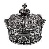 Sumnacon Joyero vintage pequeño expositor para anillos, collares, pendientes, joyas, caja organizadora de almacenamiento de plata envejecida, mini caja de recuerdos (corona grande)