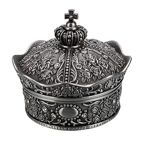 Hipiwe Vintage Jewelry Box, Antique Crown Design Trinket Treasure Chest Storage Organizer,Metal Earrings/Necklace/Ring Holder Case, Keepsake Giftb Box for Girls Women (Medium)