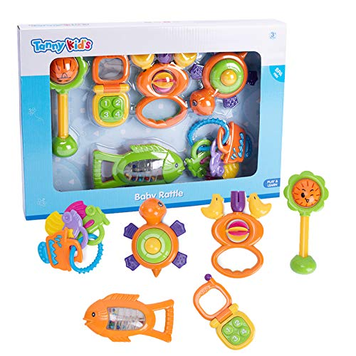 Redify Baby Rattles 0-6 Months 6pcs Baby Sensory Toys with Gift Package 0-18 Months Babies Nursery Gift Set for Eary Development, BPA Free, ABS, EN71