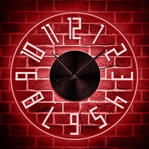 LIMN, fácil de Leer, Grandes números árabes, Moderno, silencioso, Reloj de Pared de Cuarzo, iluminación LED, Reloj de Pared Iluminado, decoración para Sala de Estar, lámpara de Pared