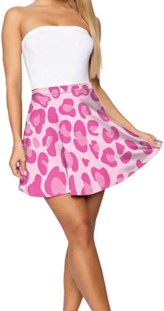 Mini Skirt Dress Beautiful Pink Leopard Skin Skater Skirts Women Women's Basic Casual Casual Mini Skirt S-XL