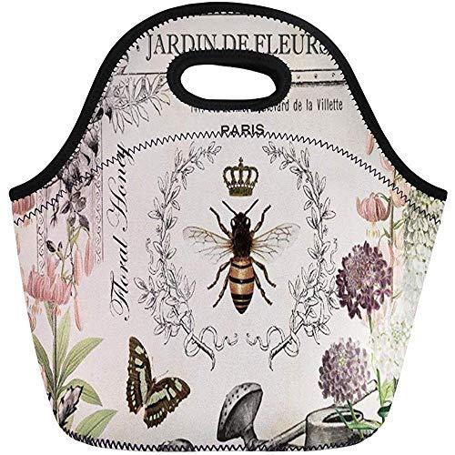 Lunch Tassen Queen Modern Vintage Franse Bee Wateringcan Antieke Honing Kroon Neopreen Lunch Bag Lunchbox Tote Bag Draagbare Picknick Bag Cooler Bag
