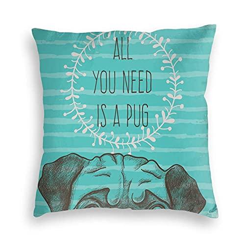 Tcerlcir Throw Pillow Covers Funda de cojín Imagen Animal de un Lindo Perro con Todo lo Que Necesitas es una Cita de Pug sobre un Fondo Aguamarina para sofá Dormitorio, 18 x 18 Pulgadas
