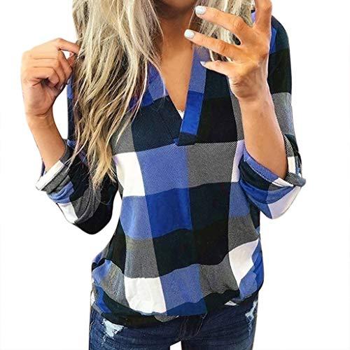 Karierte Bluse Damen Elegant Langarm V-Ausschnitt Shirts Büro Pendeln Oberteile Freizeit Locker Tunika Tops Einfacher Stil T-Shirt (M, Blau)