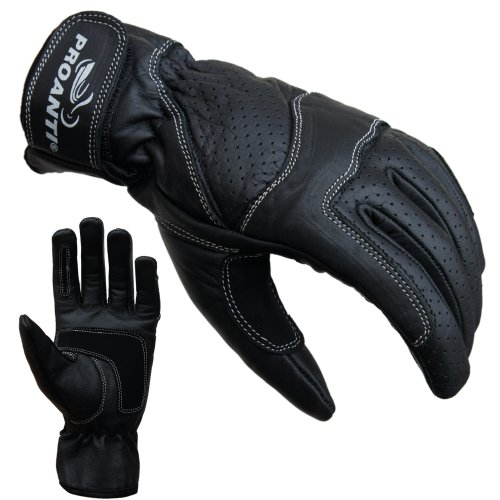 PROANTI Damen Motorradhandschuhe Damen Leder Motorrad Handschuhe - Größe M
