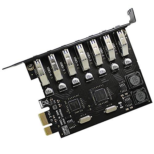 Zayaa Tarjeta de expansión USB 3.0 PCI-E 7 Puertos Adaptador de concentrador USB 3.0 Controlador Externo Tarjeta adaptadora Extensor PCI Express para Escritorio