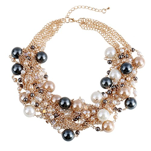 Ensemble de bijoux -Gros collier ras du cou et boucles d'oreilles en fausses perles, couleur café
