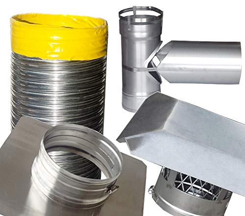 Learn More About Rockford Chimney Supply RockFlex Stainless Steel Smooth Wall Chimney Liner Tee Kit,...