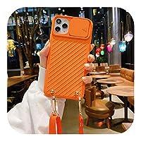トレンディ クロスボディチェーンロープストラップレンズスライドカメラプロテクトフォンケースFor iPhone12 Pro 11 PRO MAX XR X XS SE 2020 6s 7 8PLUSカバー-orange-for iphone 8 plus