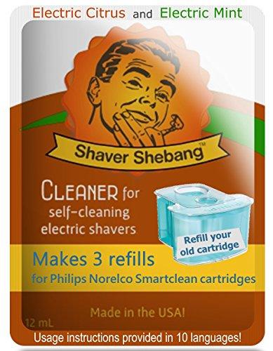 18 recargas para cartuchos Philips Norelco SmartClean - Cítrico y Menta - 6 soluciones limpiadoras Shaver Shebang - sustitutos de SmartClean