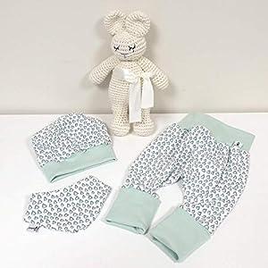 ANGEBOT Set – Hose, Mütze, Halstuch – Pastellmint Dreiecke (Pastellmint) Baby Mädchen Junge
