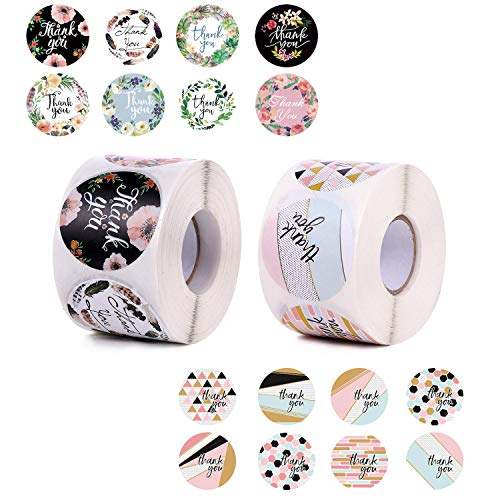 1.5' Thank You Stickers Roll of 1040 Pcs | 2 Rolls, 16 Unique Designs for Personal & Business Use | Thank You Stickers Small Business Supplies for Packaging Bags, Envelopes, Gifts