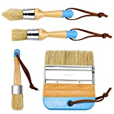 Dreamtop 4 Pieces Chalk and Wax Paint Brushes Set for Furniture - Natural Bristles Stencil Brushes Wooden Handle DIY...
