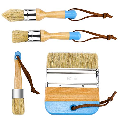 Dreamtop 4 Pieces Chalk and Wax Paint Brushes Set for Furniture – Natural Bristles Stencil Brushes Wooden Handle DIY Painting and Waxing Brushes for Wood Furniture Home Decor