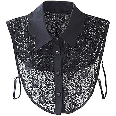 Pixnor Collo a punta staccabile donna per camicia camicetta fiore stampa nero
