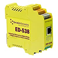 Brainboxes ED-538 ETHERNET TO DIGITAL IO RELAY 8 デジタルインパット & 4 FORM A RELAYS