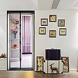 kenmont Lujo magnético cortina para puertas mosquitera con cierre magnético y rayas magnético, 100x 210cm, color negro, beige, velcro banda Regalo