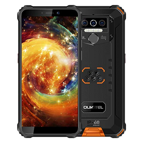 OUKITEL WP5 - Teléfono móvil 4G irrompible, batería 8000 mAh, Smartphone Impermeable IP68 Desbloqueado, 4 GB RAM 32 GB ROM, 4 linternas LED, Triple cámara, Android 9.0, Doble SIM, GPS (Naranja)