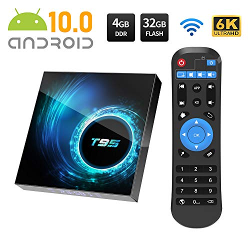 Android 10.0 TV BOX, T95 Android Box with Allwinner H616 Quad-Core 64bit ARM Corter-A53 CPU Mali G31 MP2 GPU 4GB RAM 32GB ROM 6K UHD Bluetooth 5.0 2.4GHz/5GHz WiFi 100M LAN Enternet