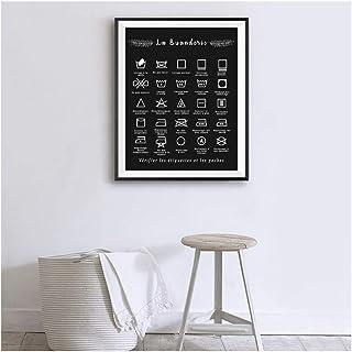 Français Blanchisserie Symbole Signe Imprime Noir Et Blanc Affiche Mur Art Photo Toile Peinture Buanderie Décor No Frame