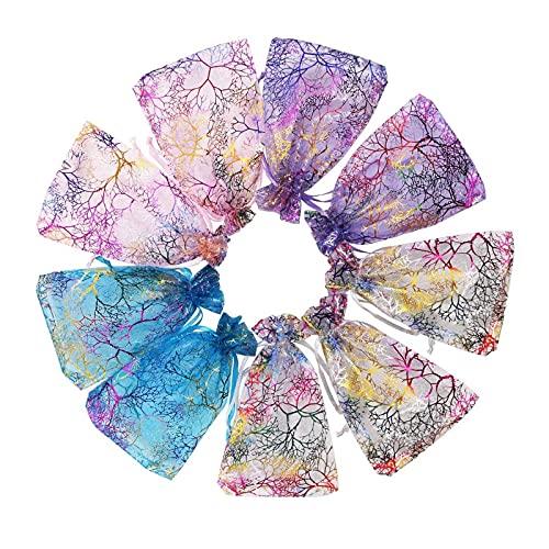 litulituhallo Bolsas de organza de color mezclado con patrón de coral para bodas, fiestas, regalos, joyas, 100 unidades, 13 x 18 cm