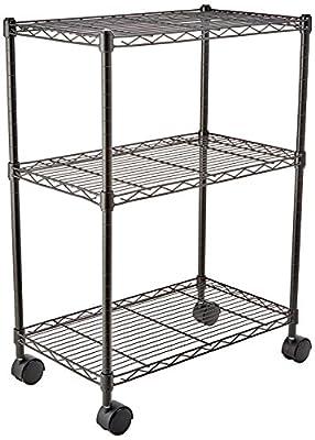"AmazonBasics 3-Shelf Shelving Storage Unit on 2"" Wheel Casters, Metal Organizer Wire Rack, Black"