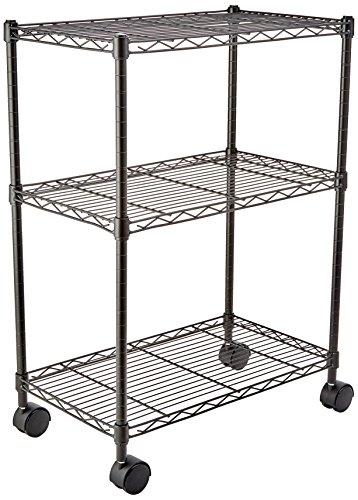 Amazon Basics - Scaffalatura a 3 ripiani, su rotelle, Nero