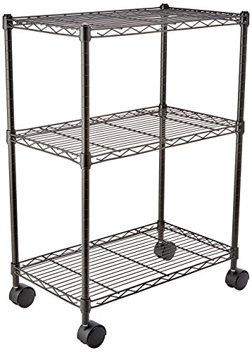 AmazonBasics 3-Shelf Shelving Storage Unit on 2' Wheel Casters, Metal Organizer Wire Rack, Black