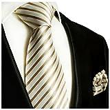 Paul Malone Krawatten Set 100% Seidenkrawatte cappuccino braun + Einstecktuch