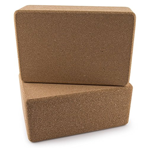 DA VINCI Set of 2 Premium Natural Cork Yoga Blocks High Density 9 x 6 x 4 Inch Each