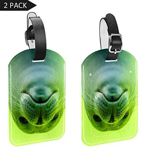 Lovely Green Sea Lion PU Cuero 2 Luggage Tag Etiqueta