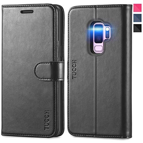 TUCCH Galaxy S9+ Plus Hülle, Schutzhülle im Bookstyle, Lifetime Garantie, Case Klappbare Handyhülle mit Kartenfach Magnet Stand, Absult Stoßfeste Lederhülle Kompatibel für Galaxy S9 Plus, 6,2 -Schwarz
