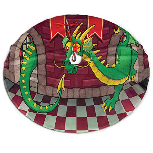 3D Printed Cartoon Christmas Tree Skirt, Castle with Dragon Xmas Holiday Party Supplies Large Tree Mat Decoration Ornament 48 Inch