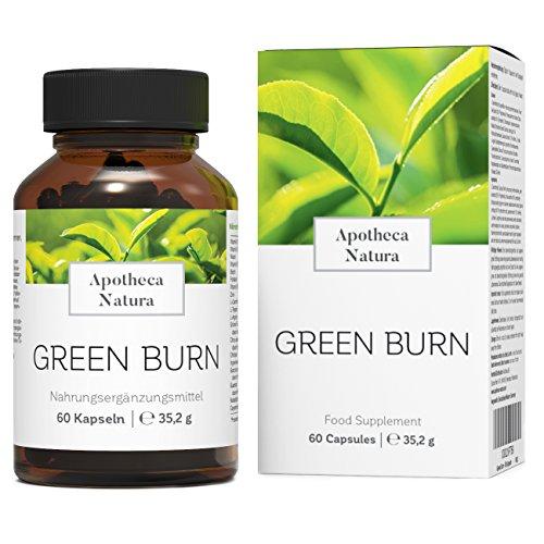Apotheca Natura Green Burn, Power Formel hochdosiert mit Grünem Tee, Zink und vielen Vitaminen, rein pflanzlich und natürlich, für die Fett - Verbrennung, 60 Kapseln
