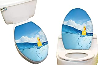 Toilet Toilet Lid Decal Sticker Yellow Rubber Duck Toy Float in Water Toilet Seat Lid Cover Decals Stickers13 x18