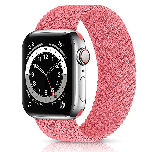 VeveXiao Correa elástica trenzada Solo Loop compatible con Apple Watch Band SE de 44 mm, 40 mm, 42 mm, 38 mm, iWatch Series 6/5/4/3/2/1 nailon elástico elástico cinturón de muñeca (42/44 mm L, rosa)