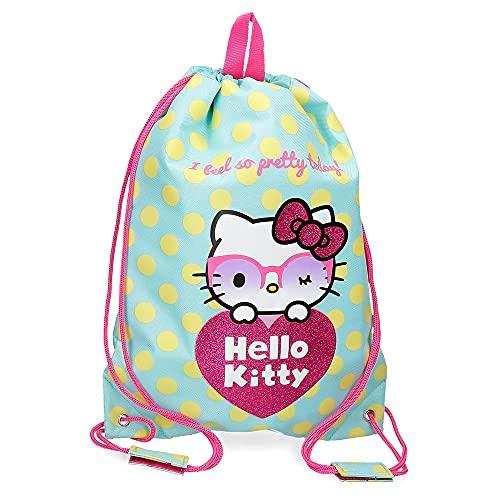 Hello Kitty Pretty Glasses mochila Saco Verde 30x40 cms Poliéster