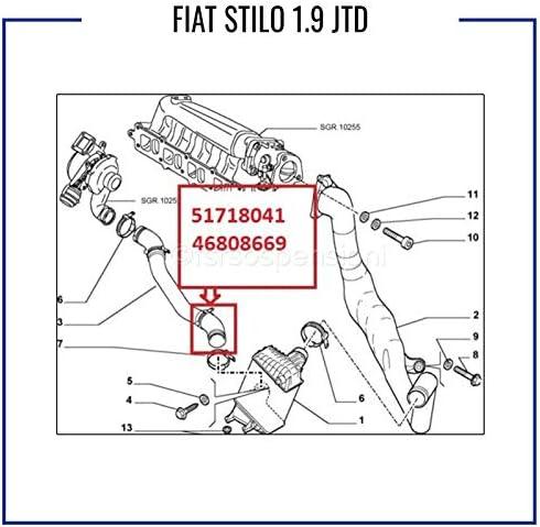 FÜR FIAT STILO 1.9 JTD TURBOSCHLAUCH LADELUFTSCHLAUCH 51718041 46808669 KEVLAR