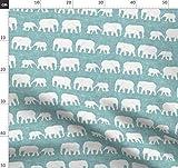 Safari, Elefant, Blau Stoffe - Individuell Bedruckt von