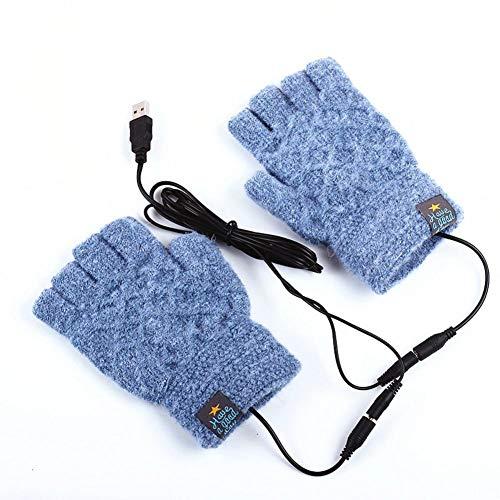 Handschuhe USB Beheizte Elektrisch Beheizte Motorrad Handschuhe, Winddicht 5V Beheizt Handschuhe Warm Winter Hände Warm Laptop Handschuhe Half Beheizt Fingerlos Heizung Stricken Hände Warmer